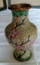 Vintage Cloisonne Vase Enameled Brass Apple Blossoms Tree Beige