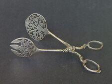 "Antique Dutch 833 Silver Standard Pierced Pastry Tongs 6 3/4""   Lion Hallmark"