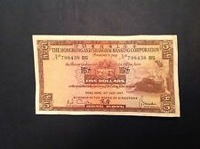 Hong Kong & Shanghai Bank Five 5 Dollars 1967 P 181c