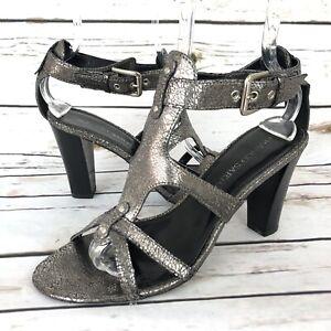 Franco Sarto 10 Open Toe Heel Sandals Leather Dark Silver Ankle Strap Womens Sho