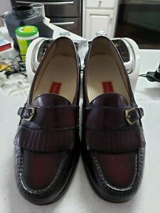 Men's Dress Shoes COLE HAAN Buckle Loafer Sz 10 E Burgundy Leather
