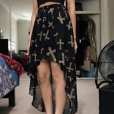 Forever 21 gothic cross high low chiffon maxi skirt  SIZE M