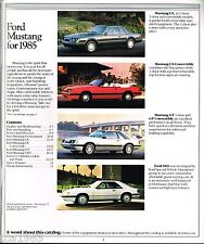 1985 Ford MUSTANG Brochure / Catalog with Color Chart: LX, SVO, GT, Convertible