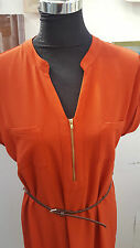 DESIGNER ROYAL BLUE&BURNT ORANGE BELTED ZIP FRONT TUNIC/SHIFT DRESS SIZE 6 TO 22