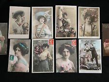 Orig. Vtg Hand Tinted Rotary Photo Walery Paris France Beauties Postcard Lot 10