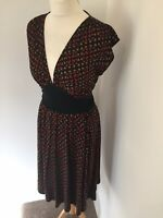 Diane Von Furstenberg Dress UK 12 Wool and Silk Blend Brown Black Knee Length I2