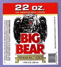Pabst Brewing Co BIG BEAR - PREMIUM MALT LIQUOR label WI 22oz