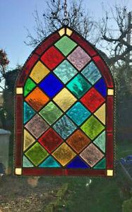 Stained Glass Suncatcher,Large Church Window Glass Panel.