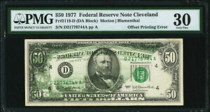 Partial Back to Front Offset Error Fr 2119-D $50 1977 Federal Reserve Note PMG30