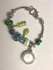 NEW BLUE AND SILVER YELLOW GEM CHARMS  BRACELET WITH DETACHABLE WATCH BOXED