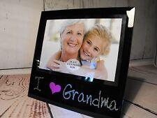NAN PHOTO ME AND GRANDMA PHOTO  SON AND DAUGHTER BLACK GLASS # PHOTO FRAME GI