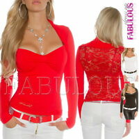 New Women's Bolero Lace Tops Long Sleeve Blouses Party Casual Size 6 8 10 XS S M