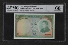 1962 Laos Banque Nationale 5 Kip Pick#9b PMG 66 EPQ Gem UNC