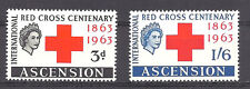 ASCENSION , RED CROSS , 1963 , SET OF 2 ,  PERF , VLH