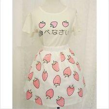 Girls Summer Day Lolita Kawaii Sweet Strawberry Costume T-shirt tops + Skirt New
