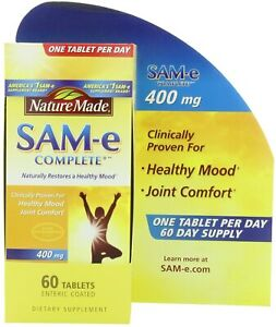 Nature Made SAM-e Complete 400 mg, 60 Enteric Coated Tablets, FREE SHIPPING