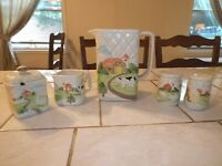 Lot of 1982 Otagiri Japan Country Quilt Pitcher, Creamer, Sugar Bowl, Shakers