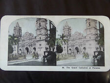 "c. 1900 COLOUR 3d STEREOGRAPH/ STEREOGRAM PHOTO     ""The Grand Cathedral Panama"""