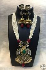 Indian Pearl CZ Ruby Emerald Ethnic Necklace and Earrings Set Fashion Jewelry