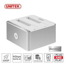 """Unitek USB 3.0 Dual-Bay 2.5"""" 3.5"""" Drive Clone Dock SATA HDD SSD Docking Station"""
