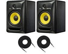 2X KRK RP8G3 Rokit-8 Active Studio Monitors 2-Way Amplified Speakers + 2X Cables