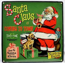 Santa Claus Coming to Town Record Album Cover Steel Sign Christmas New Repro Usa