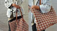 ZARA naturel tissé cuir véritable travail de découpe shopper sac d'épaule sac à main
