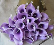 10 Lilac Purple Calla Lilies Real Touch Flowers For Wedding Bouquets Centerpiece