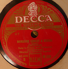 french 78 RPM - edith piaf -monsieur ernest a reussi / la geste- decca UK