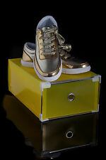 New Fashion Shiny Lace Up Trainers For Men & Woman Unisex in Gold or Silver