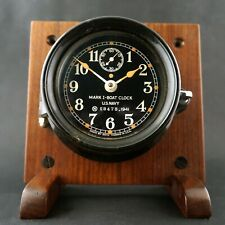 Seth Thomas Wwii Mark I Us Navy Boat Clock 1941 Gorgeous, Custom Wood Stand, Nr!