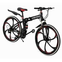 26 inch Folding Mountain Bike 21 Speed Road Bicycle Full Suspension MTB Bikes