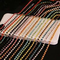 SS6 Rhinestone Trims Close Chain Sew On Cup Crystal Glass Strass Sewing 2mm 10M