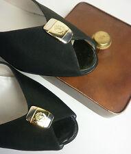 Denkstein Peeptoe Damen Pumps made italy schwarz NOS 80er True Vintage 80s black
