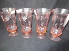 """Rare VTG 4 Pink CUT FLORAL Optic Rippled Footed Iced Tea Goblets Weston Glass 6"""""""