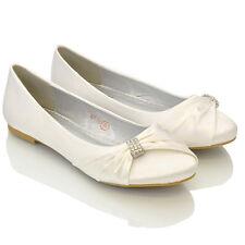 Mujer Boda Satén Zapatillas Sin Cordones Graduación Dama De Honor Zapatos 3-8