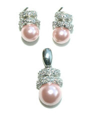 Sterling Slver C/Z and Pink Synthetic Pearl Earring and Pendant Set-Boxed