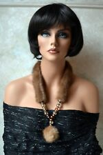 OOAK Big necklace Mink real fur, statement,Glass beads, Gold Silver Faux Pearls