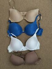 4 ladies well padded bra's, Lily of France 34B, blue, nude & white - New no tags
