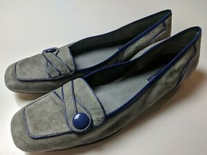 Enzo Angiolini Ealinen 12 Narrow Ballet Flats Loafers Gray / Blue Patent Leather