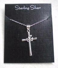 """New Sterling Silver Cross w/ Dove Pendant 18"""" Necklace"""