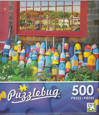 NEW Puzzlebug 500 Piece Puzzle ~ Lobster Buoys in Front of a New England House