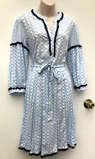 PIPER Byron Blues Blue & White Viscose Lace Trim Pleat Dress sz 8 NWT Rrp $129