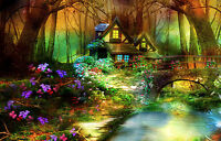 Framed Print - Fairy Tale Cabin in an Enchanted Forest (Fantasy Picture Art)