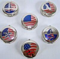 SET OF 6 Portable Metal Ashtray Ashtrays Cigarette Travel Pocket Purse U.S. Flag