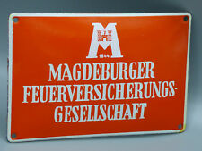 """Vintage German Porcelain """"Magdeburger Fire Insurance Company"""" Sign/ Wall Plaque"""