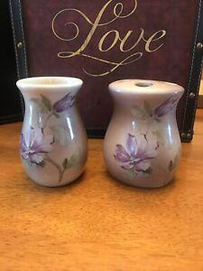 Violet Purple bathroom cup & toothbrush holder w/ flowers vtg Unbranded