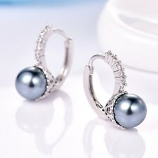 Charms Topaz Crystal White Gold Filled Leverback Gray Pearl Earrings Jewelry