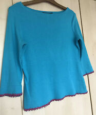Boden Blue Turquoise Jersey Top Size 14 Maybe 12