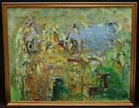 VINTAGE 50's ABSTRACT EXPRESSIONIST SYNAGOGUE ORIGINAL PAINTING